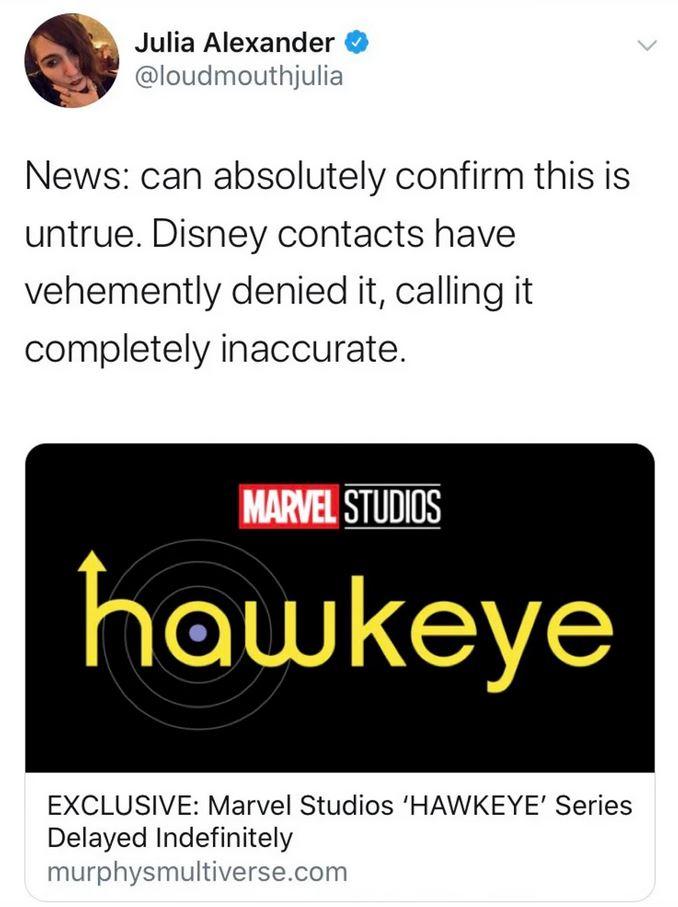 hawkeye rumor rinvio