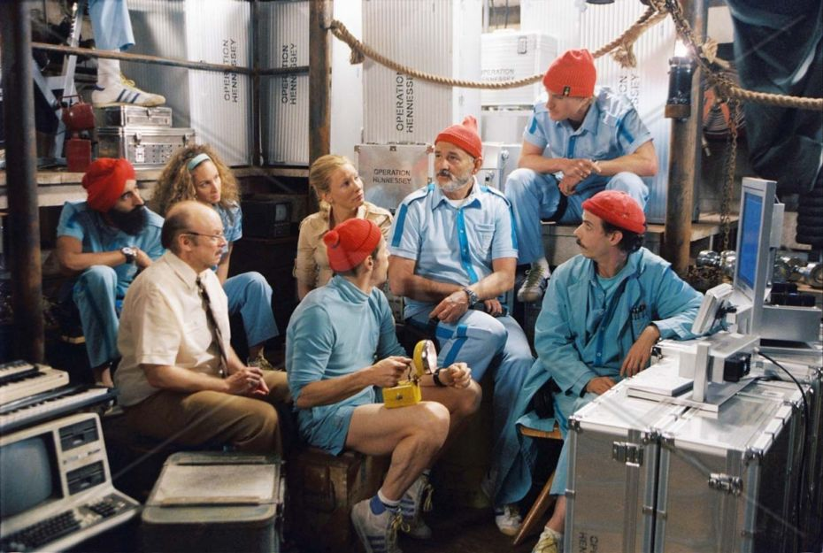 """Pictured: Members of Team Zissou, left to right - Vikram Ray (WARIS AHLUWALIA), Anne-Marie Sakowitz (ROBYN COHEN), Bill Ubell (BUD CORT), Jane Winslett-Richardson (CATE BLANCHETT), Klaus Daimler (WILLEM DAFOE), Steve Zissou (BILL MURRAY), Ned Plimpton (OWEN WILSON), and Vladimir Wolodarsky (NOAH TAYLOR) in a scene from THE LIFE AQUATIC WITH STEVE ZISSOU, directed by Wes Anderson. Distributed by Buena Vista International. THIS MATERIAL MAY BE LAWFULLY USED IN ALL MEDIA ONLY TO PROMOTE THE RELEASE OF THE MOTION PICTURE ENTITLED """"THE LIFE AQUATIC WITH STEVE ZISSOU"""" DURING THE PICTURE'S PROMOTIONAL WINDOWS. ANY OTHER USE, RE-USE, DUPLICATION OR POSTING OF THIS MATERIAL IS STRICTLY PROHIBITED WITHOUT THE EXPRESS WRITTEN CONSENT OF TOUCHSTONE PICTURES. AND COULD RESULT IN LEGAL LIABILITY. YOU WILL BE SOLELY RESPONSIBLE FOR ANY CLAIMS, DAMAGES, FEES, COSTS, AND PENALTIES ARISING OUT OF UNAUTHORIZED USE OF THIS MATERIAL BY YOU OR YOUR AGENTS."""